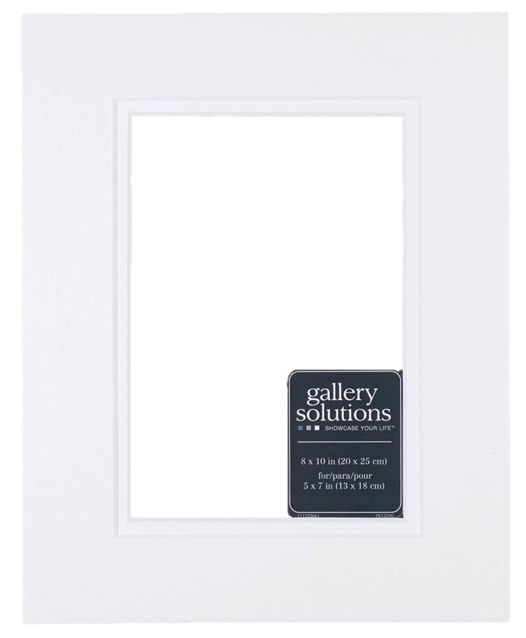 Gallery Solutions Custom Bevel Cut Double White Mat for 8x10 Picture Frame with 5x7 Opening