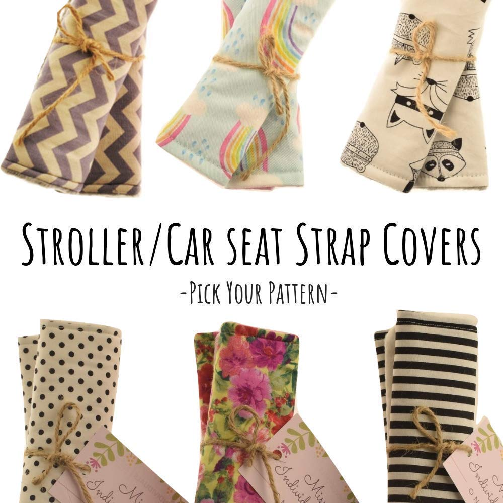 Stroller Strap Covers, Car Seat Strap Covers, Stroller Seat Belt Pads, Pram Strap Covers, Seat Belt Covers, Seat Harness Pads