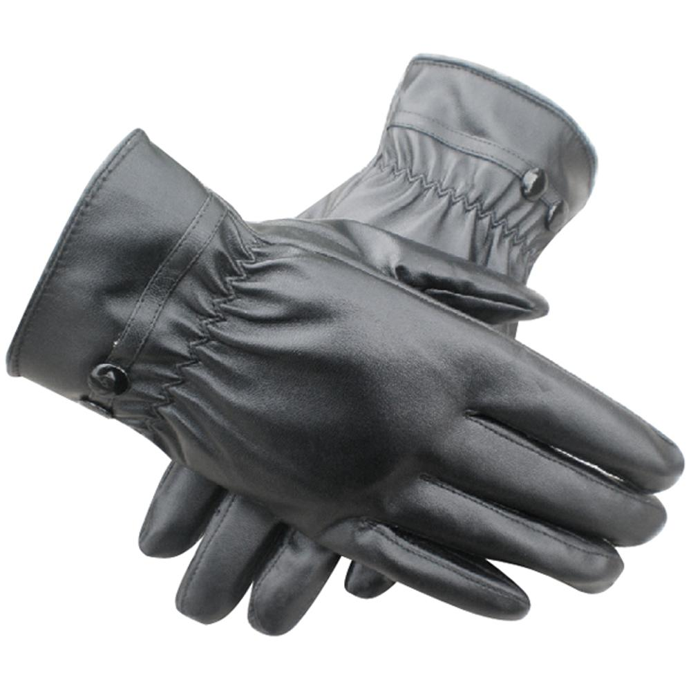 Ladies leather gloves designer - Uk Women Winter Thermal Lined Driving Smart Warm Soft Leather Gloves Button Fasten