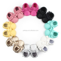 2017 PU leather baby moccasion kids wholesale colorful baby feet soft sole shoes