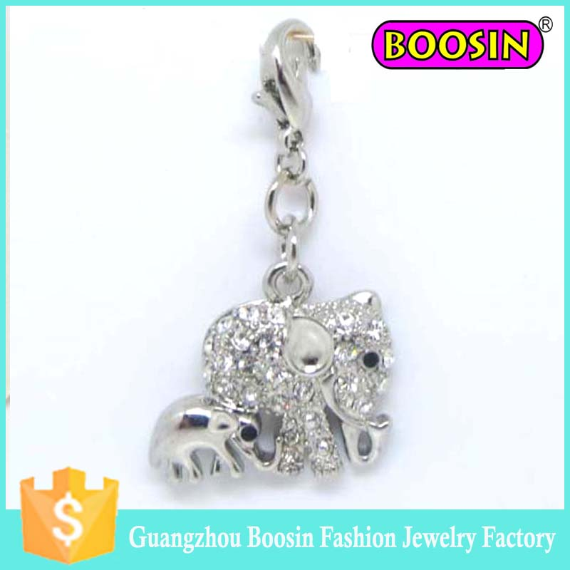 Thanksgiving Day Celebration gift, silver loving double elephant mom and son charm pendant #8723