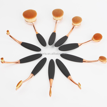 2016 New 90degrees bending rose gold Oval brush set 10pcs Foundation Makeup Brush Sets Powder Blusher Toothbrush makeup brush