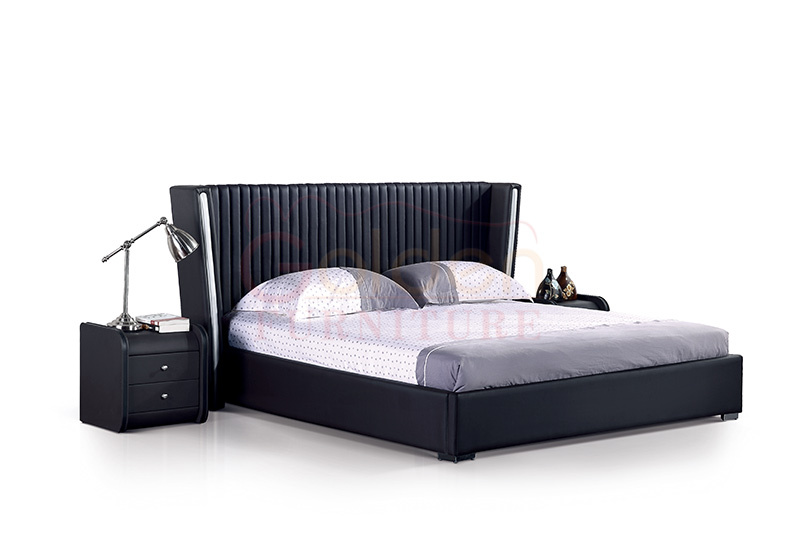 G1056 Home Furniture Double Cot Bed Designs With High Headboard