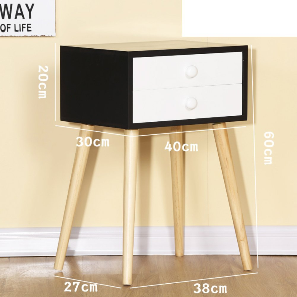 Solid wood bedside table,Simple modern Mini small apartment Bedroom simple storage cabinet Small cupboard American side cabinet-J