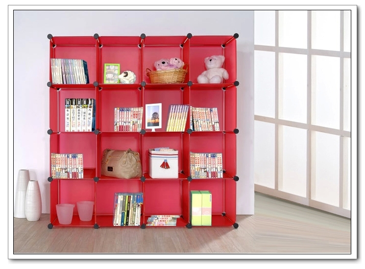 Red Plastic Portable Cubic Living Room Book Shelf Made Of Pp Panel ...