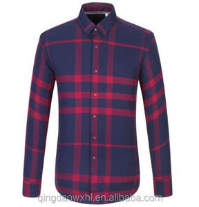 Custom Casual men's long sleeve shirt flannel checked pattern shirt for men