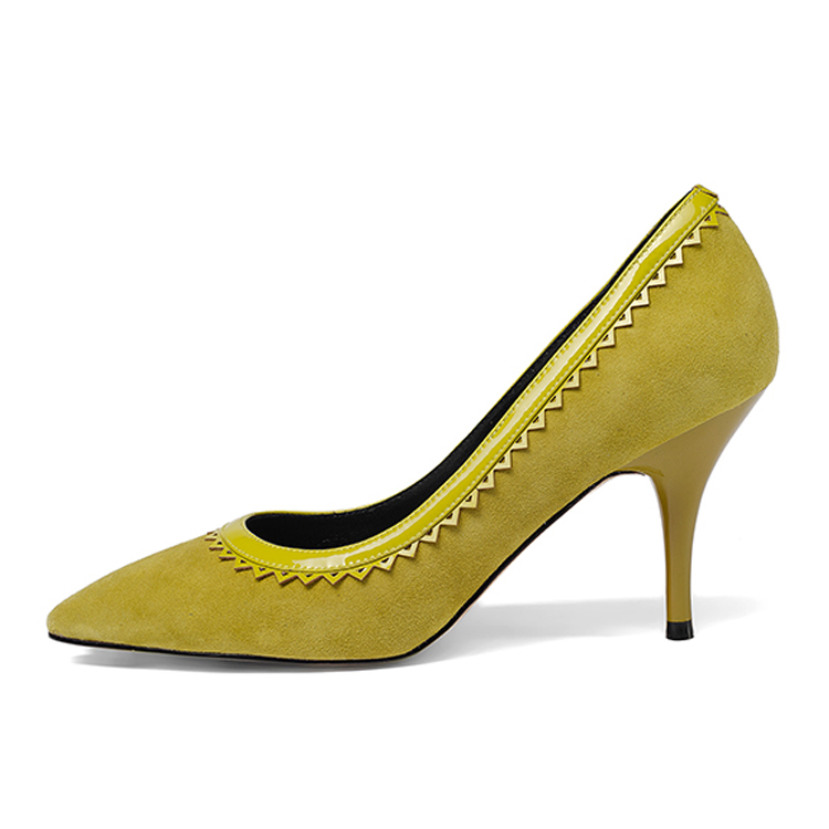 Leather Shallow Black Single Pumps Mustard Heels High amp; Dress Suede Green Mouth Female Shoes Sharp TFqxxfRwIn