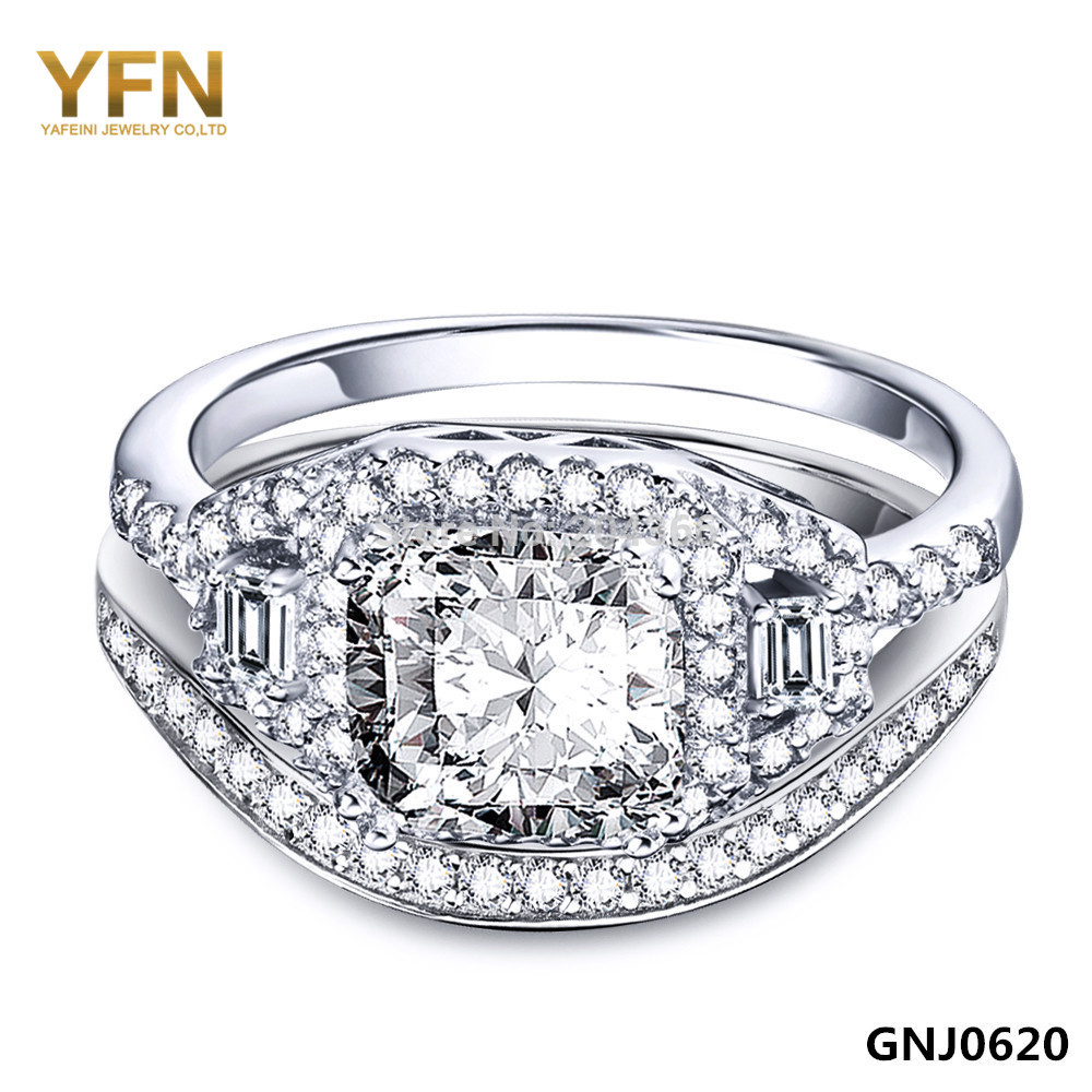 GNJ0620 100% Real Pure 925 Sterling Silver CZ Engagement