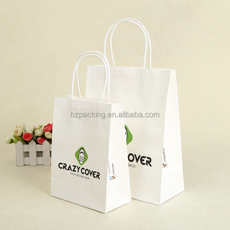 Custom Logo Printable promotional Shopping Bright White Kraft Handle Paper Bags For Garments