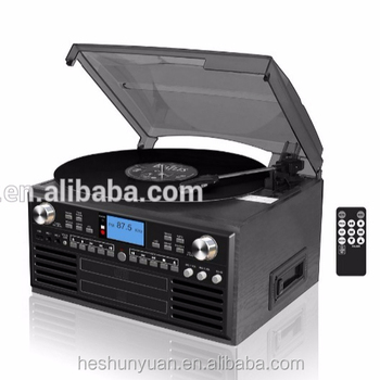 Multiple turntable player USB SD vinyl record player with cassette and radio phonograph media player
