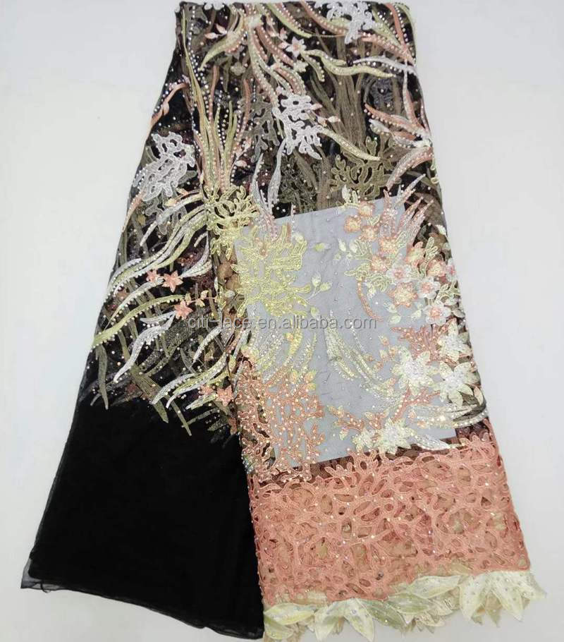 Guangzhou african wedding embroidery tulle lace fabric material French 3d lace fabric with stones TS004