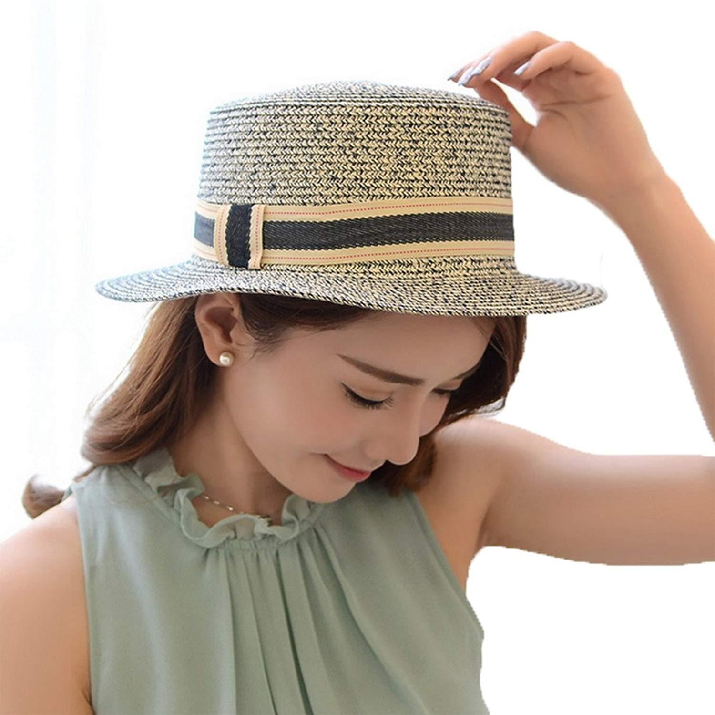 Get Quotations · 4URNEED Womens Summer Trilby Fedoras Hats Porkpie Hat  Beach Sun Hat Straw Panama Hat f075c1416