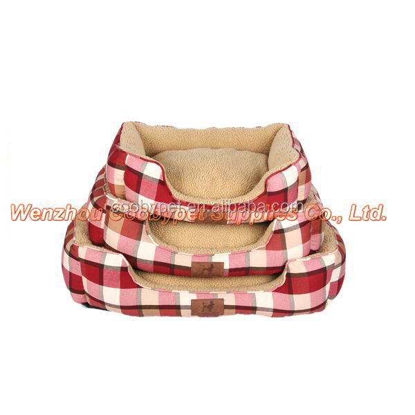 Red classic sofa dog accessories, lamb wool canvas bed for pet, good quality bed product