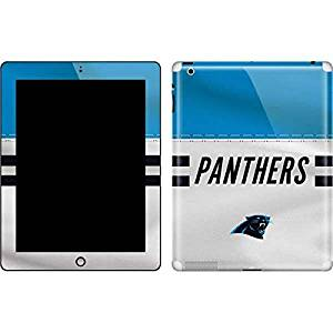 NFL Carolina Panthers New iPad Skin - Carolina Panthers White Striped Vinyl Decal Skin For Your New iPad