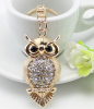 Fashion 2015 Cute Bling Fancy Wholesale Enamel Gemstone Crystal Rhinestone Owl Keychain ,Key Ring