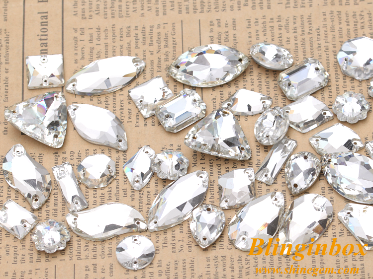 High quality rivoli shape AB colors two holes sewing rhinestone flat back wedding dress sew on crystal stone