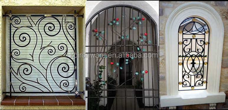 Top selling decorative wrought iron window guard design for Iron window design house
