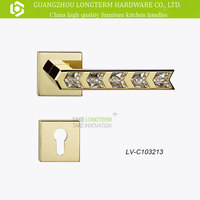 Longterm New Interior Design K9 Clear Crystal Diamond Door Hardware Levers and Handles gold plate lock