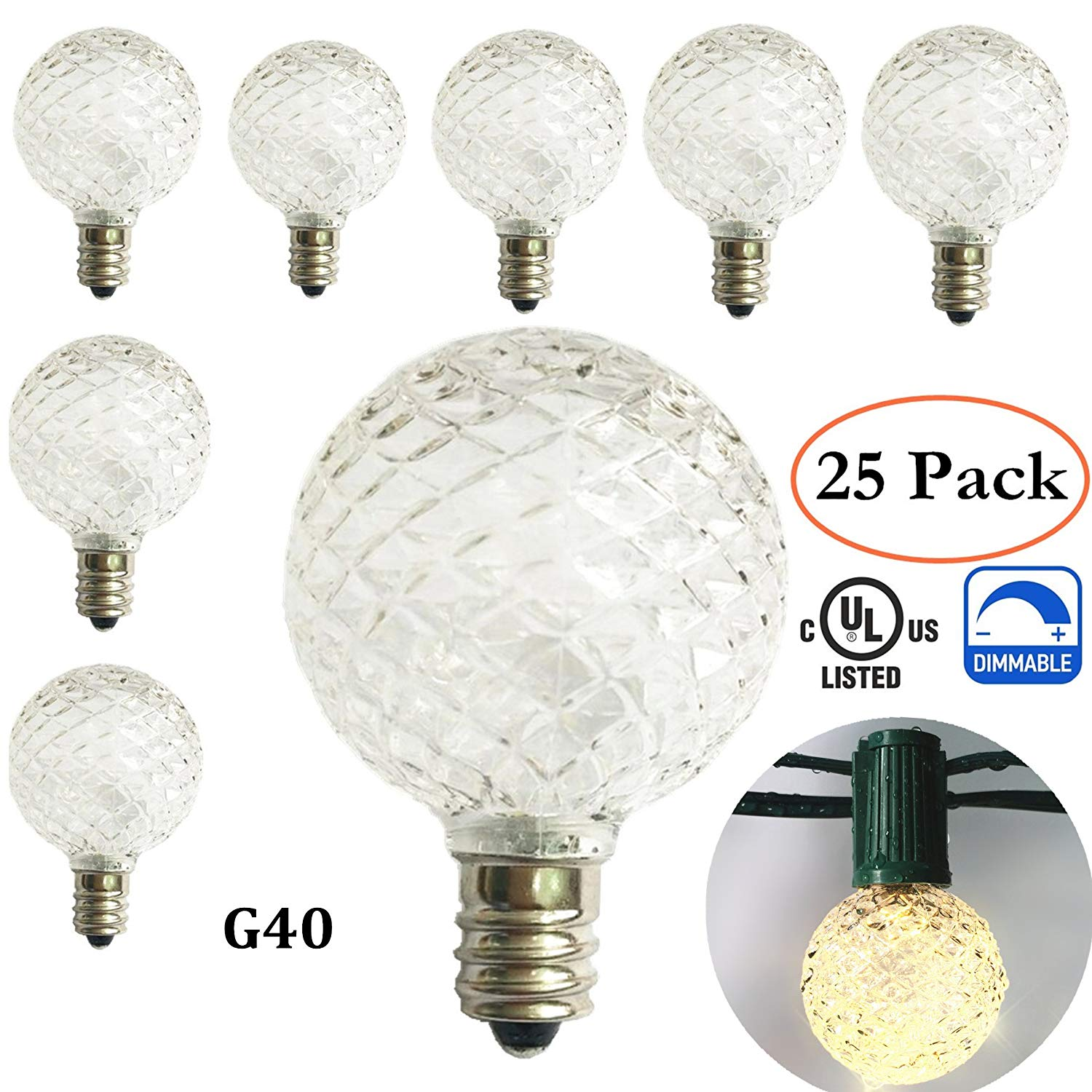 G40 Replacement Bulbs LED for Globe Patio String Lights, 25 Pack,1.56-inch,Crystal Ball Style, 0.5 Watt,Fits C7/E12 Candelabra Screw Base,Indoor/Outdoor Use,Warm White (Warm White-G40 Bulb)