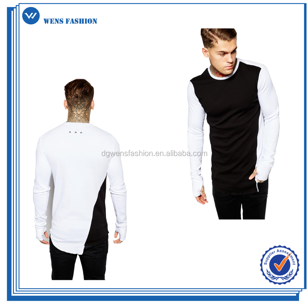 Custom Longline Twisted Mens Long Sleeve T-shirt With Thumb Holes ...