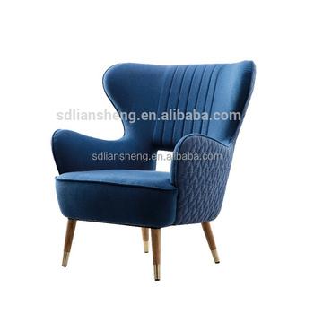 Fancy Vintage Style Royal Blue Single High Back Arm Chair With Oak Legs For  Living Room