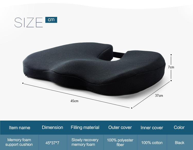 BYC Rohs Passed Comfort Coccyx Orthopedic 70D Memory Foam Seat Cushion