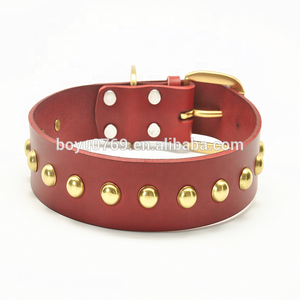 Newest Punk spike rivet studs Genuine Leather dog collar