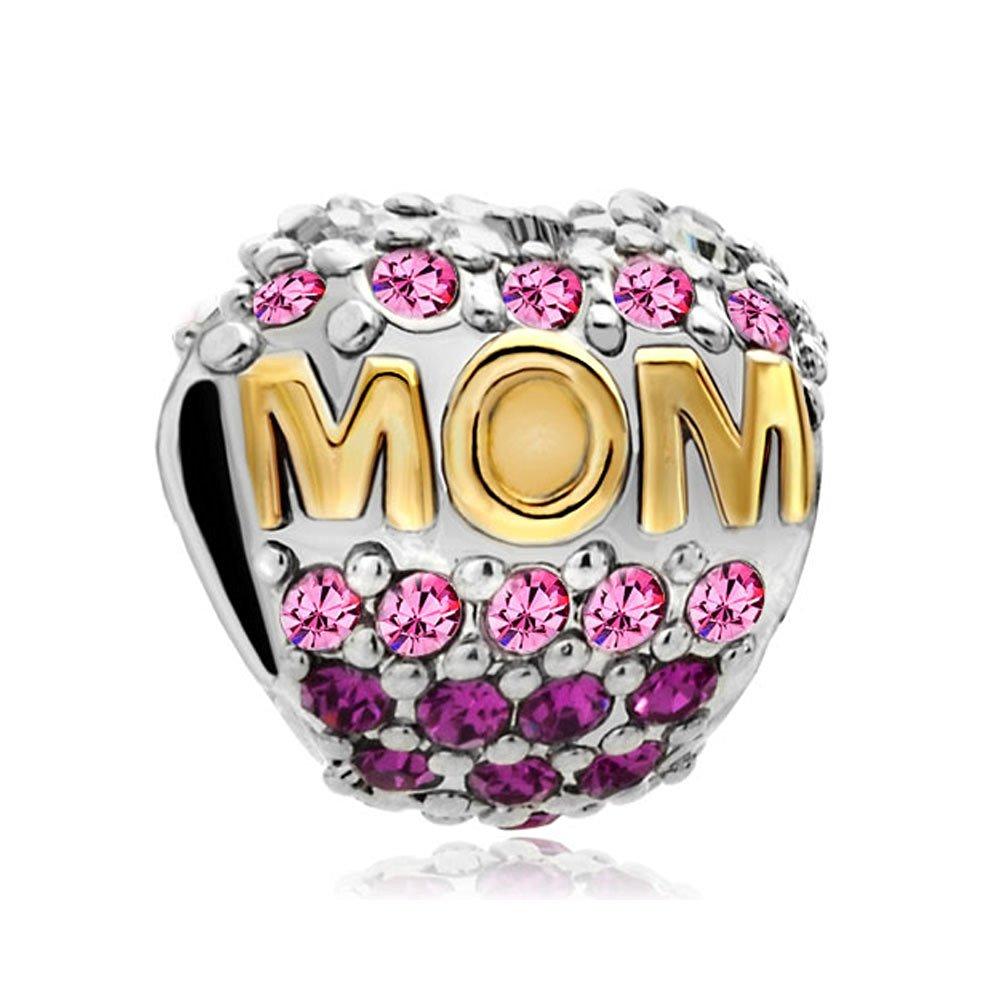 Charmingjewelry Mom Pink Birthstone Crystal Charm Sale Cheap Jewelry Beads  Fit Pandora Bracelets