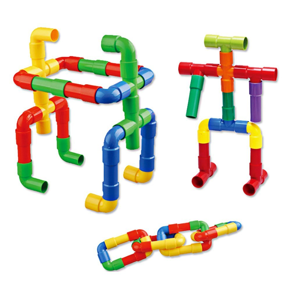 Metee: DIY Assembling Water Pipe Building Blocks Toy Baby Kids Pipeline Tunnel Block Model Toy Colorful Plastics Educational Toy
