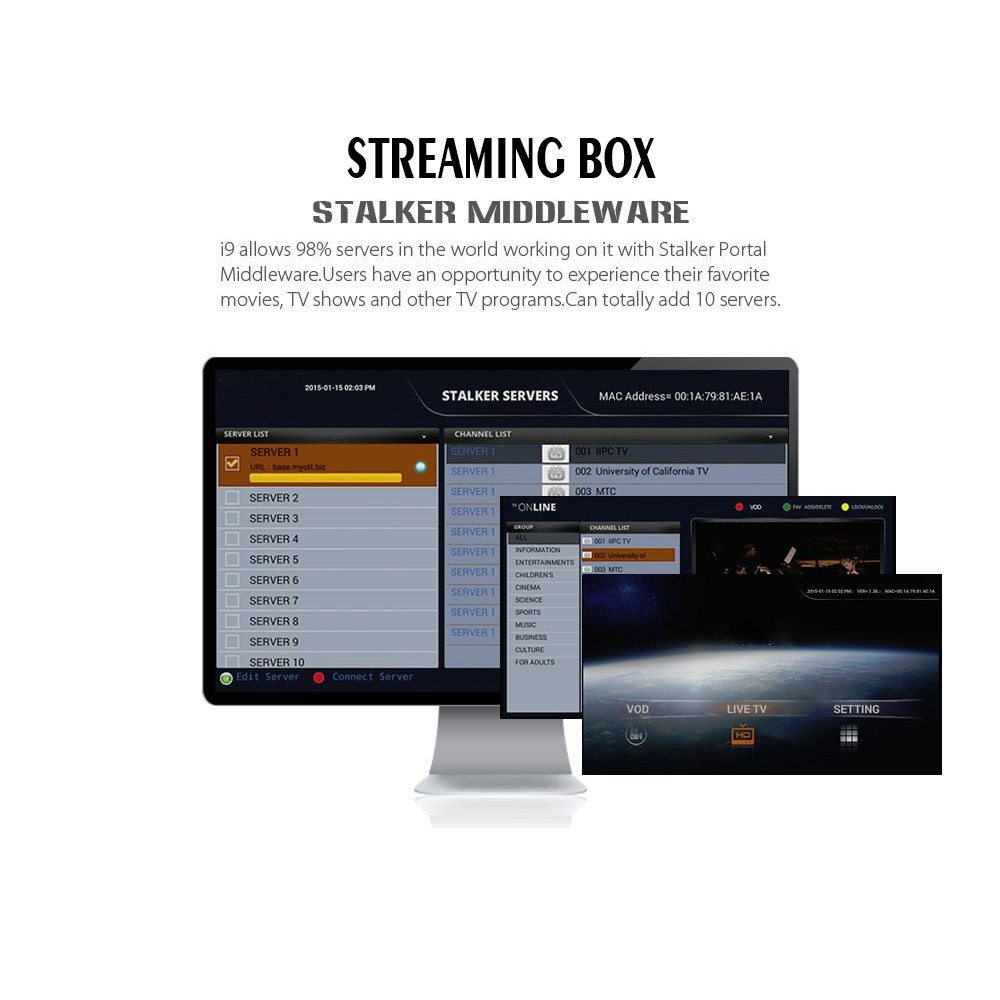 Top Smart IPTV Streaming Box Android Multi Streaming Sever Stalker