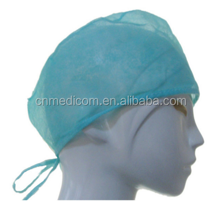 Non woven machine made doctor cap surgical cap with elastic/tie strap