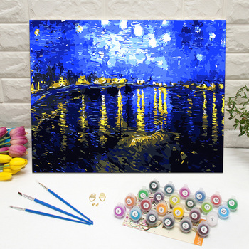 Masterpiece Starry Night Over the Rhone by van gogh paint by numbers kits framed art work