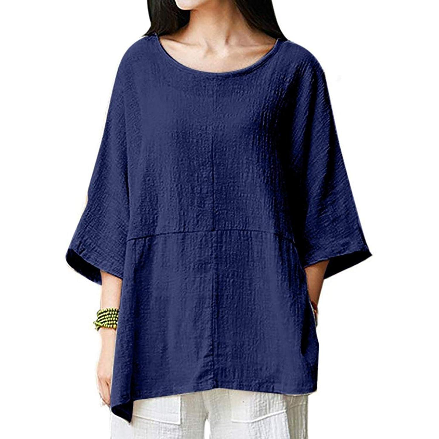BCDshop Women Casual Loose Vintage Cotton Linen Tops Shirts Blouse Tunic 3/4 Sleeve