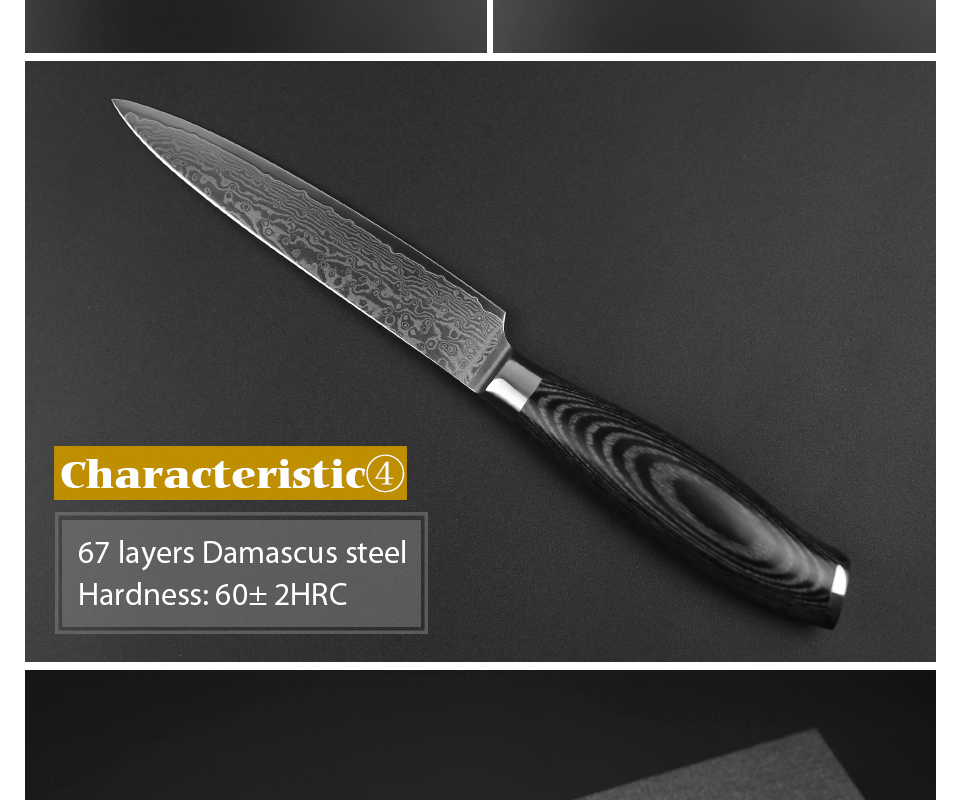 "HTB17L5CcBbM8KJjSZFFq6yynpXaT - 5""inch Utility Knife 67 Layers Japanese Damascus Steel Kitchen Knife Sharp"