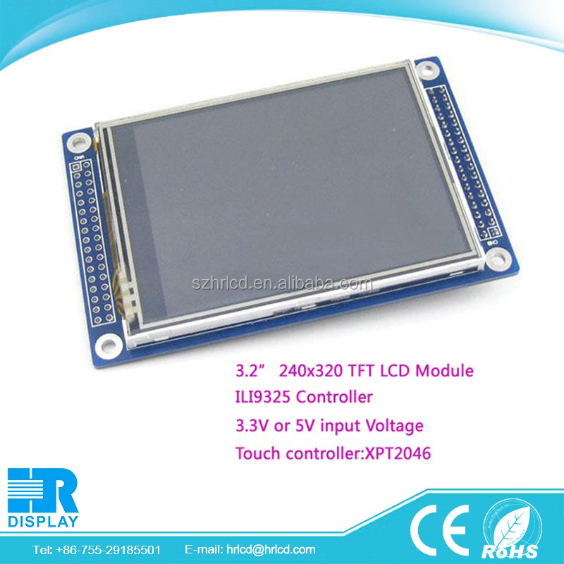 "small lcd display 3.2"" 240x320 pixels tft lcd module ILI9325 or ILI9328 with resistive touch screen XPT2046"