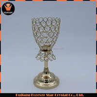 cheap flower type one head tealight crystal metal candle holder for wedding decoration
