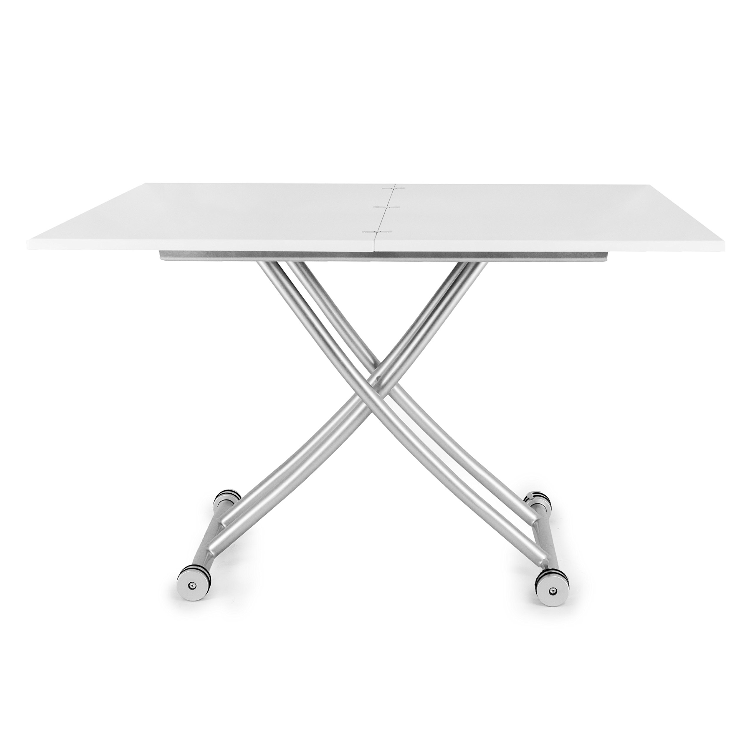Corner Housewares CO-2219-GLSWHT Transforming X Coffee and Dining Table, White
