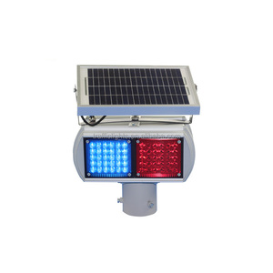 LED solar power red bule yellow flashing safety light traffic blinking warning