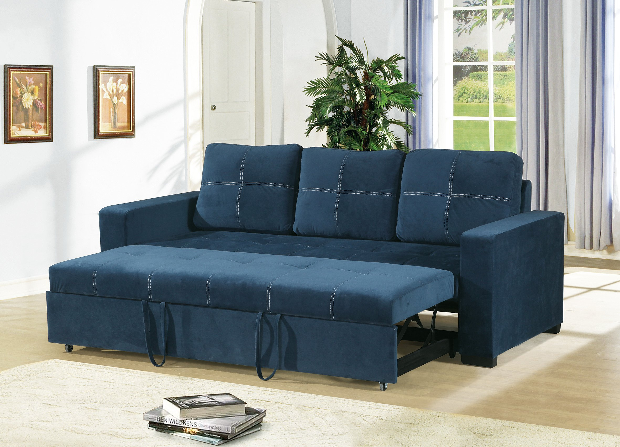 Get Quotations Convertible Sofa Bed Bobkona Living Room W Pull Out Accent Sching Comfort Couch Navy
