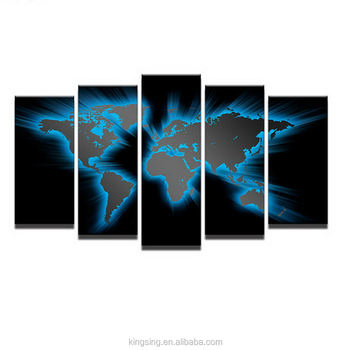 World Map Framed Wall Art.Abstract Art Acrylic Painting 3d World Map Framed Canvas Inkjet