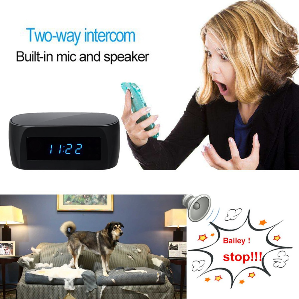 Alarm Clock Spy Hidden Camera with Wifi,Motion Detection,2-Way Communication and Night Vision,Full HD 1080P DV Camcorder PQ283