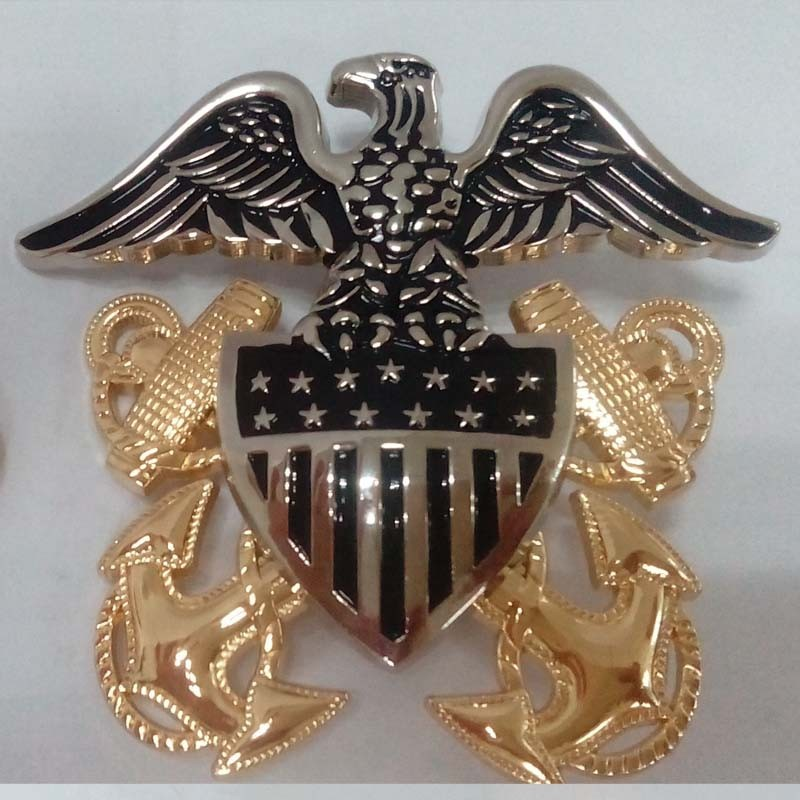 High quality US Navy cap metal badges / free mould fee US Navy cap metal badges
