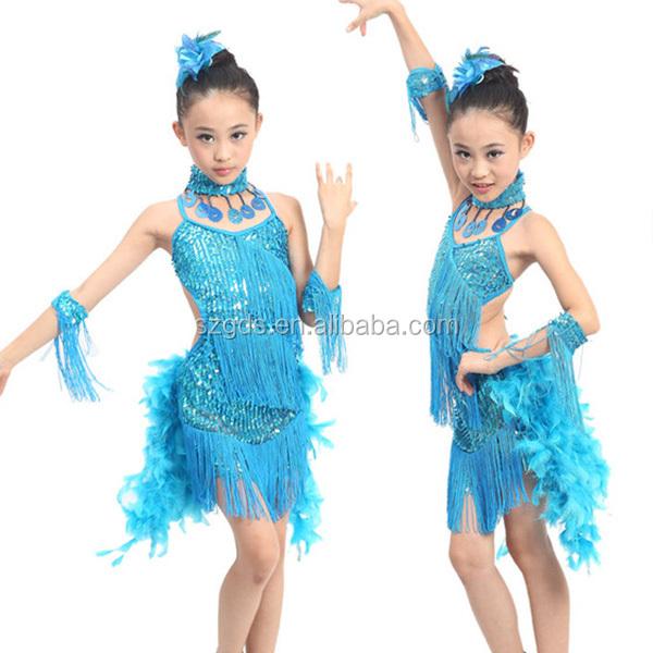 cca880fd73162 En Stock costume de danse frangée plume Latine robe de bal pour les enfants  3 couleurs