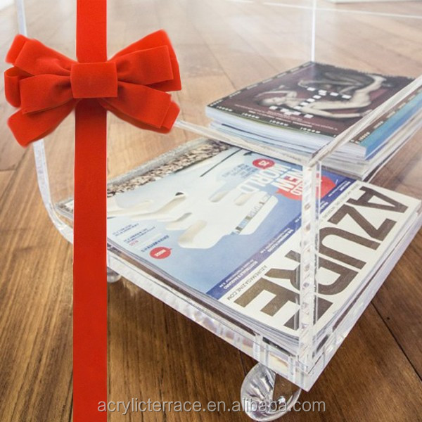 Delightful Thick Clear Transparent Acrylic Lucite Perspex Coffee Table With Magazine  Rack And Casters Pictures