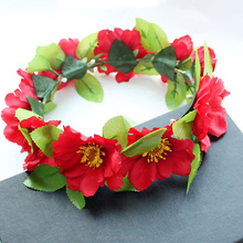 2 styles hand work red flowers fall garland/headband