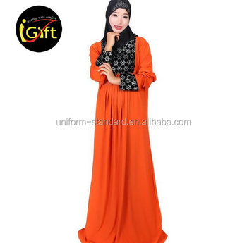 iGift OEM Custom Dubai Orange Modern Islamic Clothing Abaya