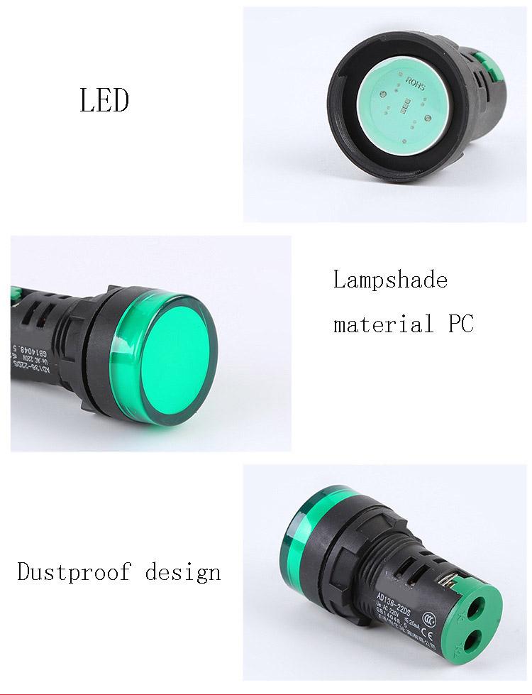 ALTA QUALIDADE 220V LED INDICADOR DE LUZ 22MM LED PILOTO LUZ LÂMPADA DE SINAL