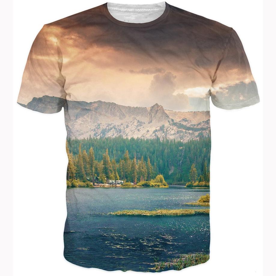 Новинка горный пейзаж 3D футболка женщины / мужчины летом свободного покроя топы яркий пейзажи 3D майка crewneck майки топы майку