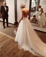 Spaghetti Strap Inexpensive Backless Lace Puffy Ruffle Wedding Dress Brand Wedding Gowns And Bridal Dress Ball Gown