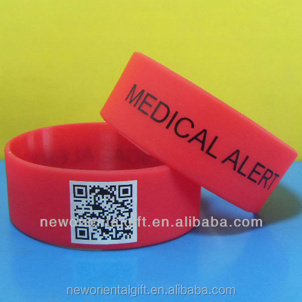 Fashion personalized qr code silicone bracelet for 1 inches